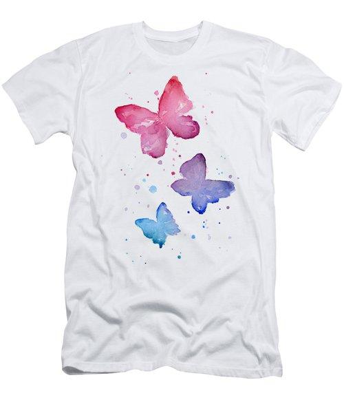 Watercolor Butterflies Men's T-Shirt (Slim Fit) by Olga Shvartsur