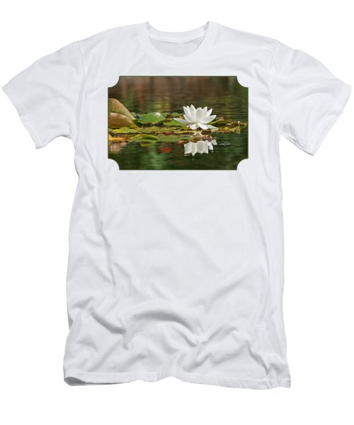 White Water Lily With Damselflies Men's T-Shirt (Slim Fit) by Gill Billington