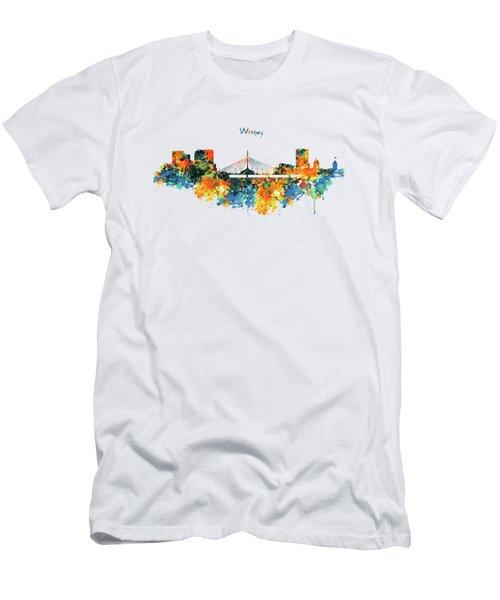Winnipeg Skyline Men's T-Shirt (Slim Fit) by Marian Voicu