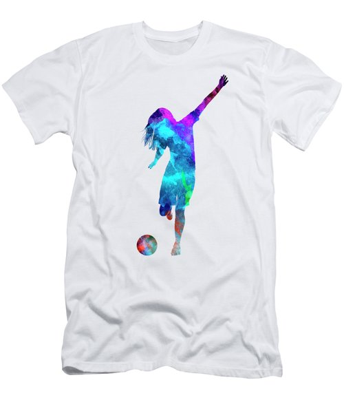 Woman Soccer Player 05 In Watercolor Men's T-Shirt (Slim Fit) by Pablo Romero