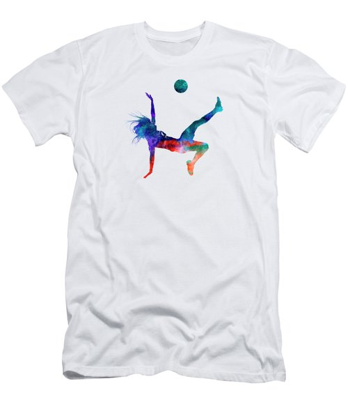 Woman Soccer Player 08 In Watercolor Men's T-Shirt (Slim Fit) by Pablo Romero