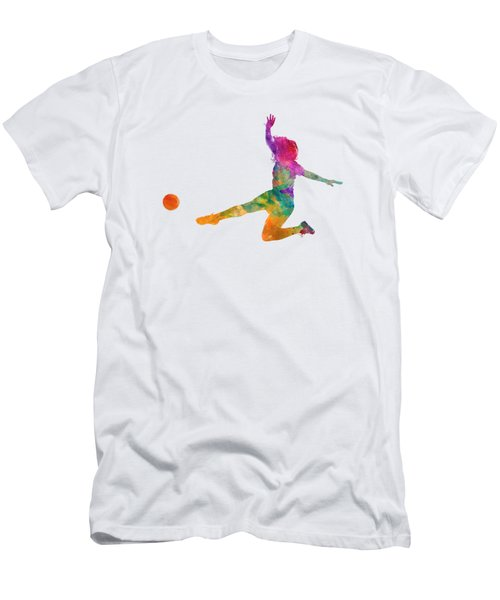 Woman Soccer Player 11 In Watercolor Men's T-Shirt (Slim Fit) by Pablo Romero