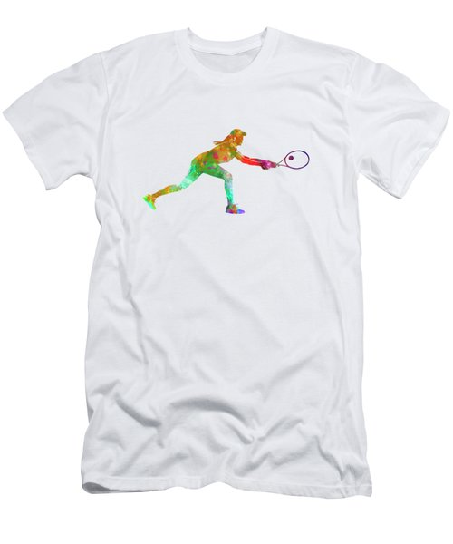 Woman Tennis Player Sadness 02 In Watercolor Men's T-Shirt (Slim Fit) by Pablo Romero