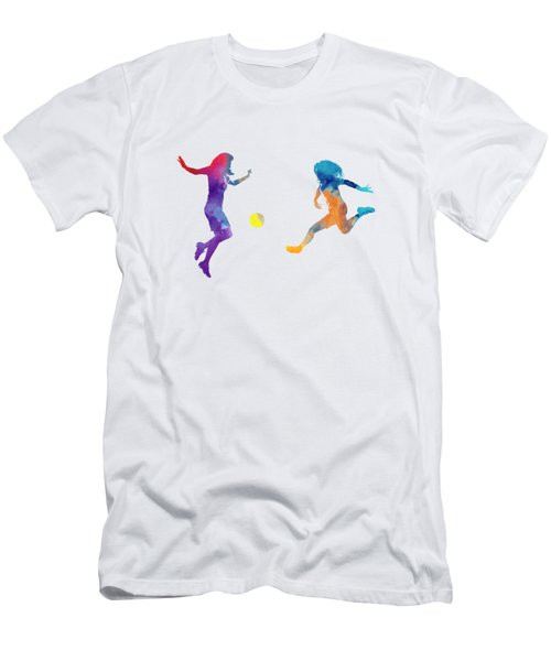 Women Soccer Players 01 In Watercolor Men's T-Shirt (Slim Fit) by Pablo Romero