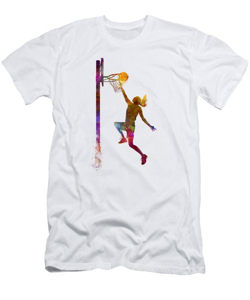 Young Woman Basketball Player 04 In Watercolor Men's T-Shirt (Slim Fit) by Pablo Romero