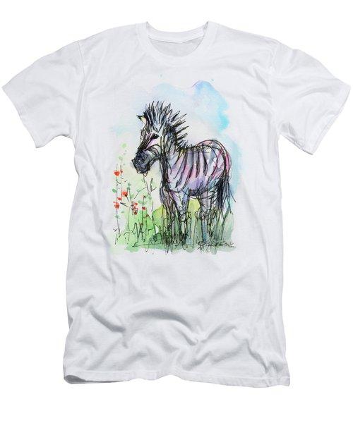 Zebra Painting Watercolor Sketch Men's T-Shirt (Slim Fit) by Olga Shvartsur