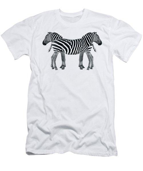 Zebra Pair On Black Men's T-Shirt (Slim Fit) by Gill Billington