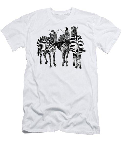 Zebra - Three's A Crowd Men's T-Shirt (Slim Fit) by Gill Billington