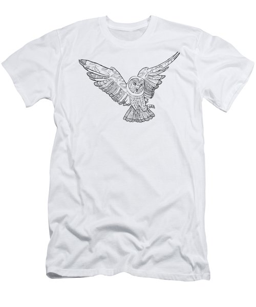Zentangle Owl In Flight Men's T-Shirt (Slim Fit) by Cindy Elsharouni