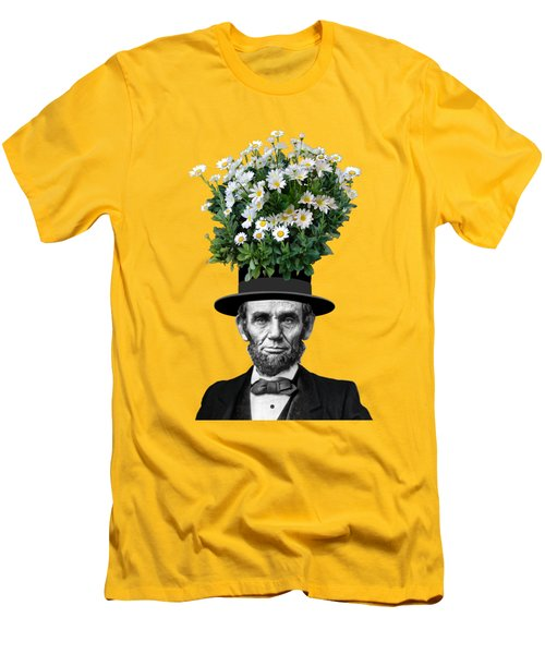 Abraham Lincoln Presidential Daisies Men's T-Shirt (Slim Fit) by Garaga Designs