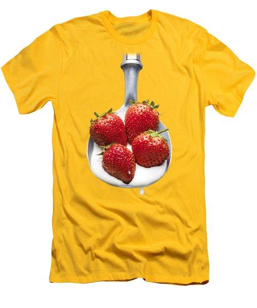 Strawberries N Cream Men's T-Shirt (Slim Fit) by Jon Delorme