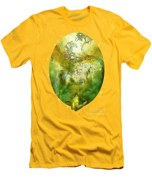 Unicorn Of The Forest  Men's T-Shirt (Slim Fit) by Carol Cavalaris