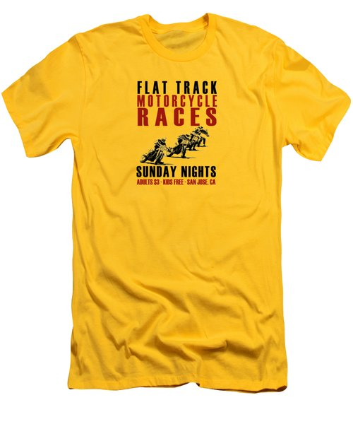 Flat Track Motorcycle Races Men's T-Shirt (Slim Fit) by Mark Rogan