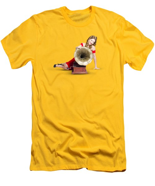 Beautiful Pinup Woman Listening To Old Gramophone Men's T-Shirt (Slim Fit) by Jorgo Photography - Wall Art Gallery