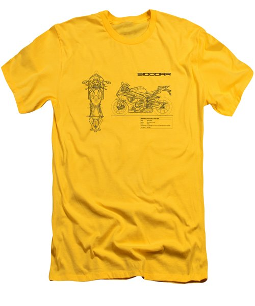 Blueprint Of A S1000rr Motorcycle Men's T-Shirt (Slim Fit) by Mark Rogan