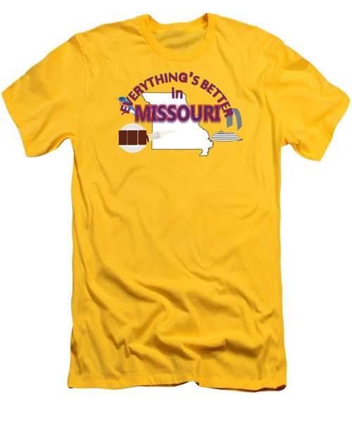 Everything's Better In Missouri Men's T-Shirt (Slim Fit) by Pharris Art