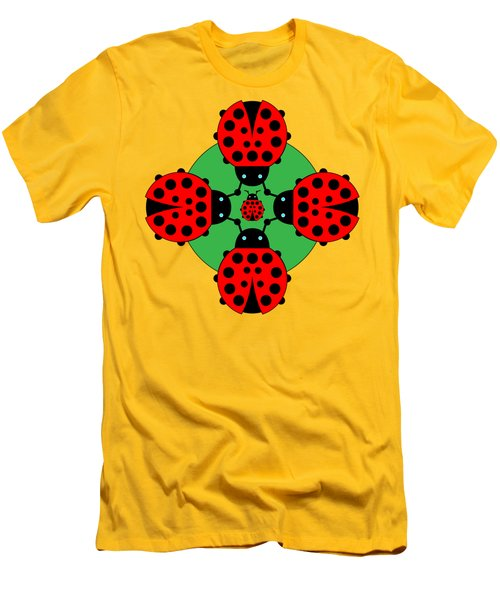 Five Lucky Ladybugs Men's T-Shirt (Slim Fit) by John Groves