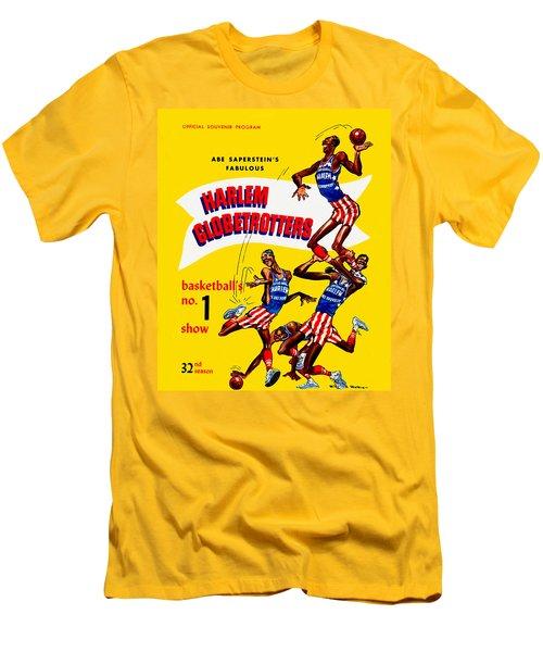 Harlem Globetrotters Vintage Program 32nd Season Men's T-Shirt (Slim Fit) by Big 88 Artworks