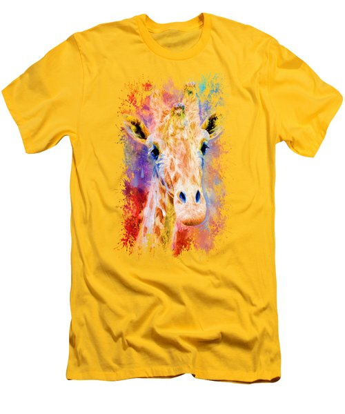 Jazzy Giraffe Colorful Animal Art By Jai Johnson Men's T-Shirt (Slim Fit) by Jai Johnson