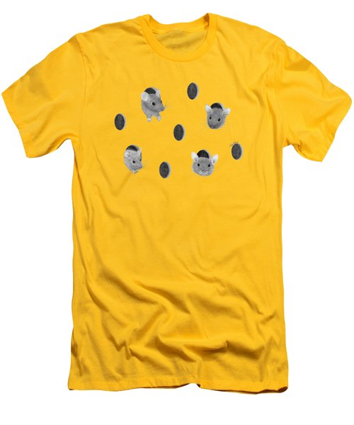 Mice In Swiss Cheese Men's T-Shirt (Slim Fit) by Rita Palmer