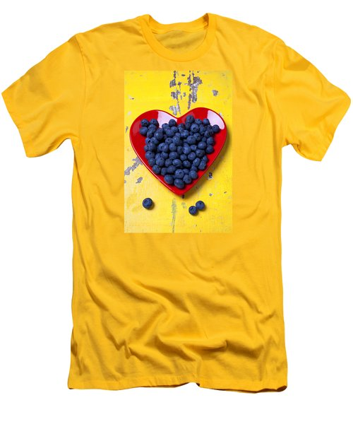 Red Heart Plate With Blueberries Men's T-Shirt (Slim Fit) by Garry Gay