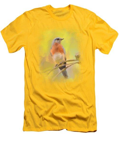 Spring Bluebird Painting Men's T-Shirt (Slim Fit) by Jai Johnson