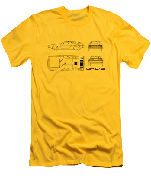 The Delorean Dmc-12 Blueprint - White Men's T-Shirt (Slim Fit) by Mark Rogan