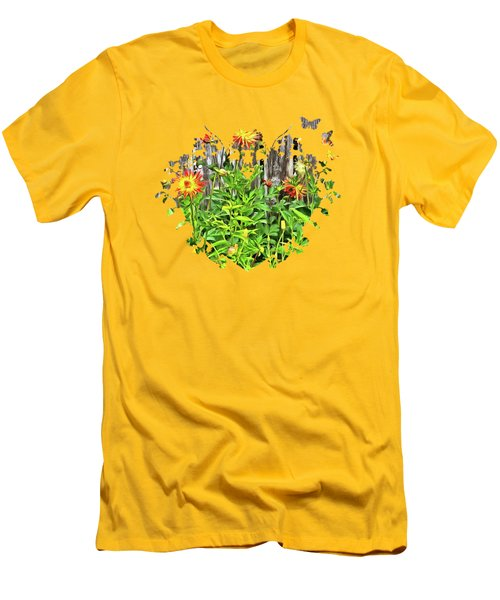 The Flowers Along The Fence  Men's T-Shirt (Slim Fit) by Thom Zehrfeld