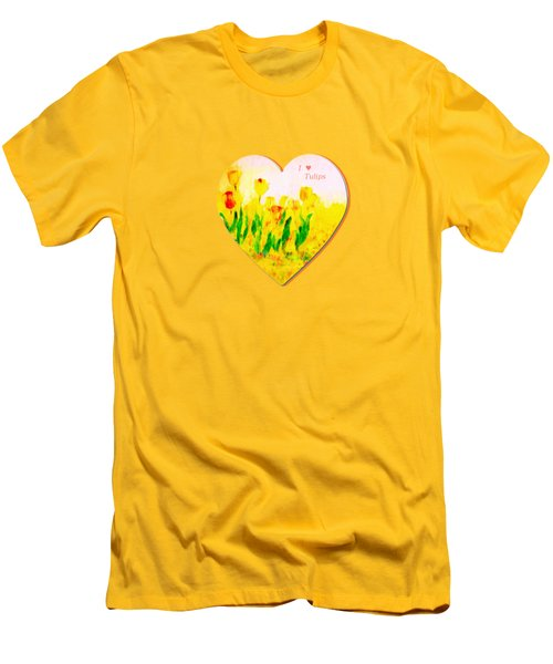 Tulips In Springtime-floral Painting By V.kelly Men's T-Shirt (Slim Fit) by Valerie Anne Kelly