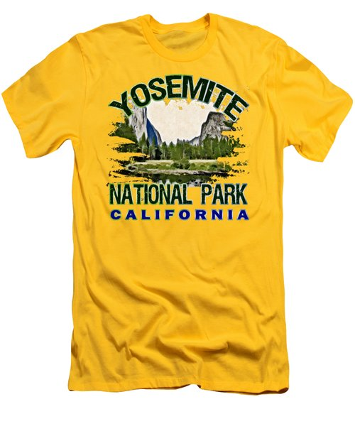 Yosemite National Park Men's T-Shirt (Slim Fit) by David G Paul