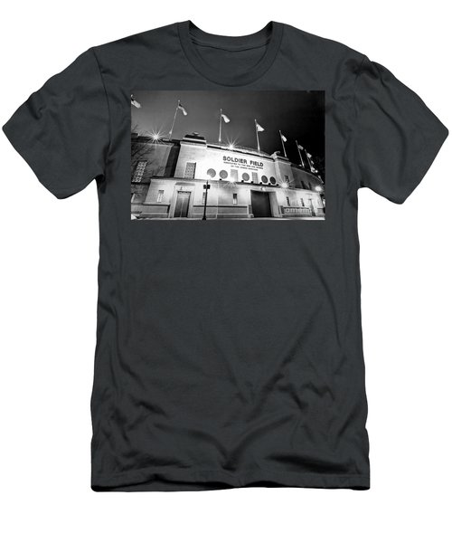 0879 Soldier Field Black And White Men's T-Shirt (Slim Fit) by Steve Sturgill