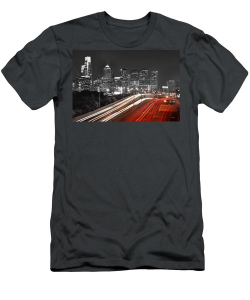 Philadelphia Skyline At Night Black And White Bw  Men's T-Shirt (Slim Fit) by Jon Holiday