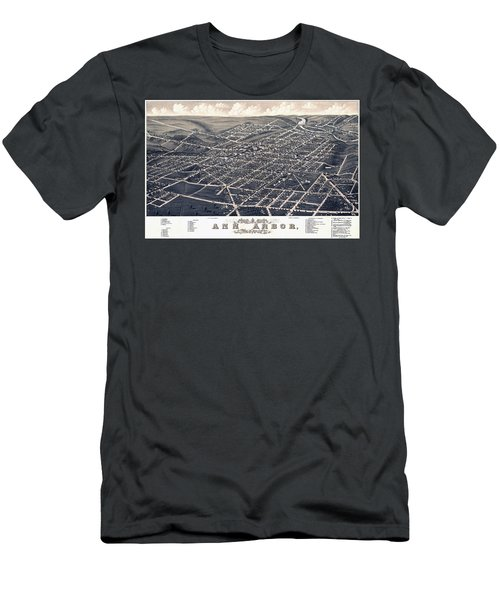 1880 Birds Eye Map Of Ann Arbor Men's T-Shirt (Slim Fit) by Stephen Stookey