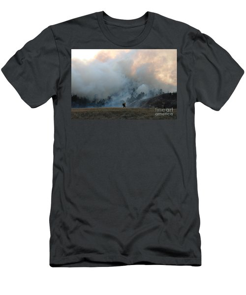Men's T-Shirt (Slim Fit) featuring the photograph A Solitary Firefighter On The White Draw Fire by Bill Gabbert