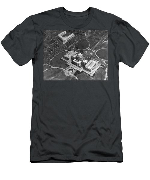 Aerial View Of U.s. Capitol Men's T-Shirt (Slim Fit) by Underwood Archives