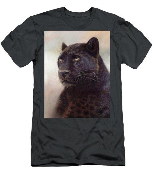 Black Leopard Painting Men's T-Shirt (Slim Fit) by Rachel Stribbling