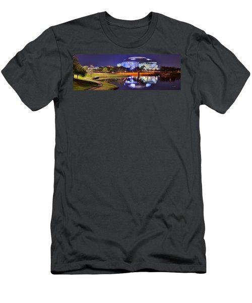 Dallas Cowboys Stadium At Night Att Arlington Texas Panoramic Photo Men's T-Shirt (Slim Fit) by Jon Holiday
