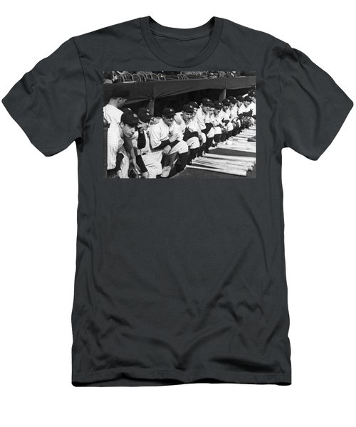 Dimaggio In Yankee Dugout Men's T-Shirt (Slim Fit) by Underwood Archives