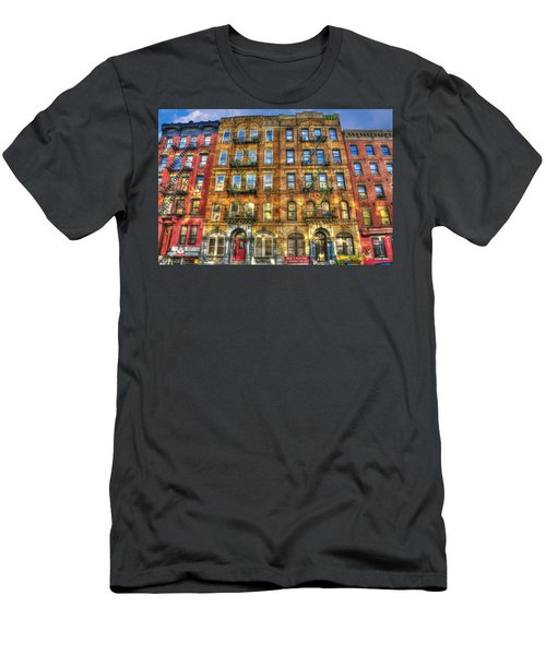 Led Zeppelin Physical Graffiti Building In Color Men's T-Shirt (Slim Fit) by Randy Aveille