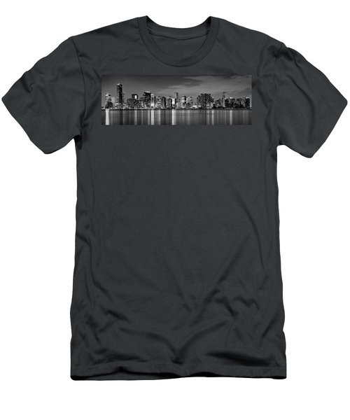 Miami Skyline At Dusk Black And White Bw Panorama Men's T-Shirt (Slim Fit) by Jon Holiday