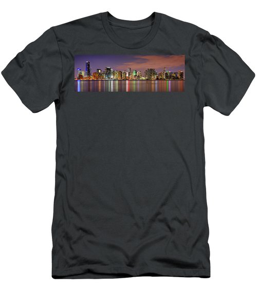 Miami Skyline At Dusk Sunset Panorama Men's T-Shirt (Slim Fit) by Jon Holiday