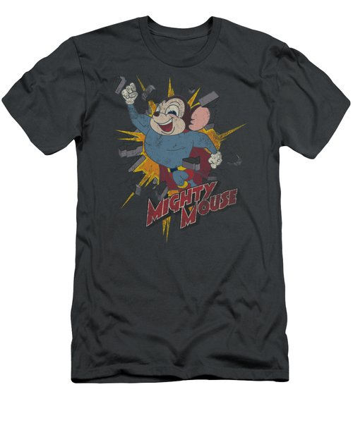 Mighty Mouse - Break Through Men's T-Shirt (Slim Fit) by Brand A