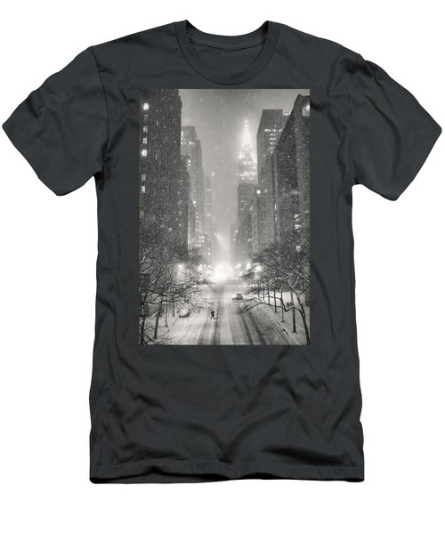 New York City - Winter Night Overlooking The Chrysler Building Men's T-Shirt (Slim Fit) by Vivienne Gucwa