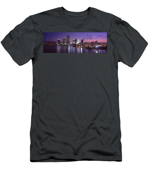 Night Skyline Miami Fl Usa Men's T-Shirt (Slim Fit) by Panoramic Images