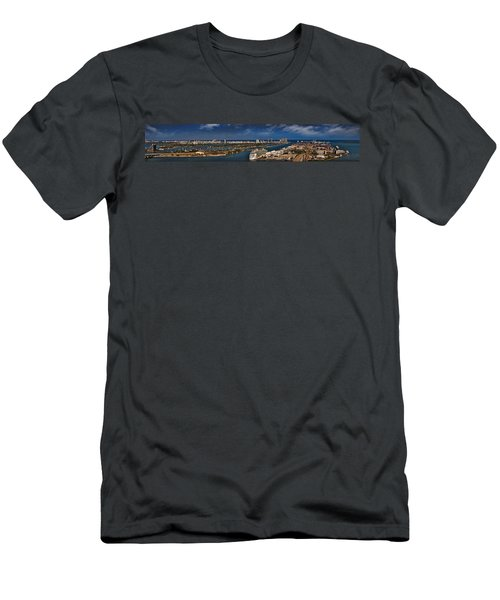 Port Of Miami Panoramic Men's T-Shirt (Slim Fit) by Susan Candelario
