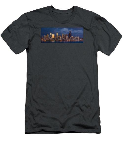 Seattle Skyline Sunset Detail Men's T-Shirt (Slim Fit) by Mike Reid