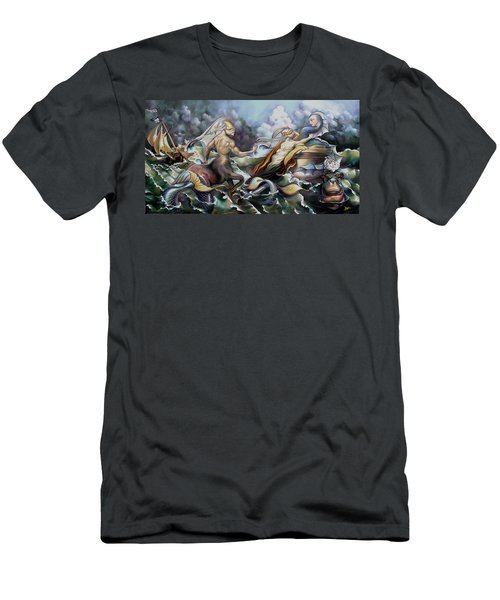 Something Fowl Afloat Redux Men's T-Shirt (Slim Fit) by Patrick Anthony Pierson