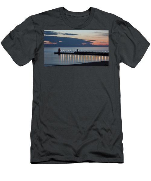South Haven Michigan Lighthouse Men's T-Shirt (Slim Fit) by Adam Romanowicz