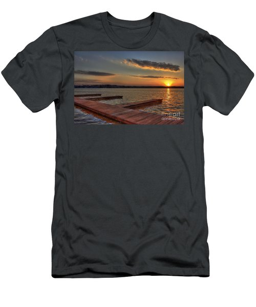 Sunset Docks On Lake Oconee Men's T-Shirt (Slim Fit) by Reid Callaway