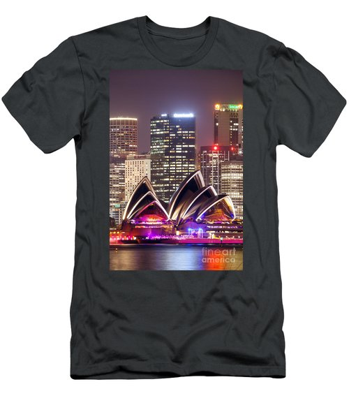Sydney Skyline At Night With Opera House - Australia Men's T-Shirt (Slim Fit) by Matteo Colombo